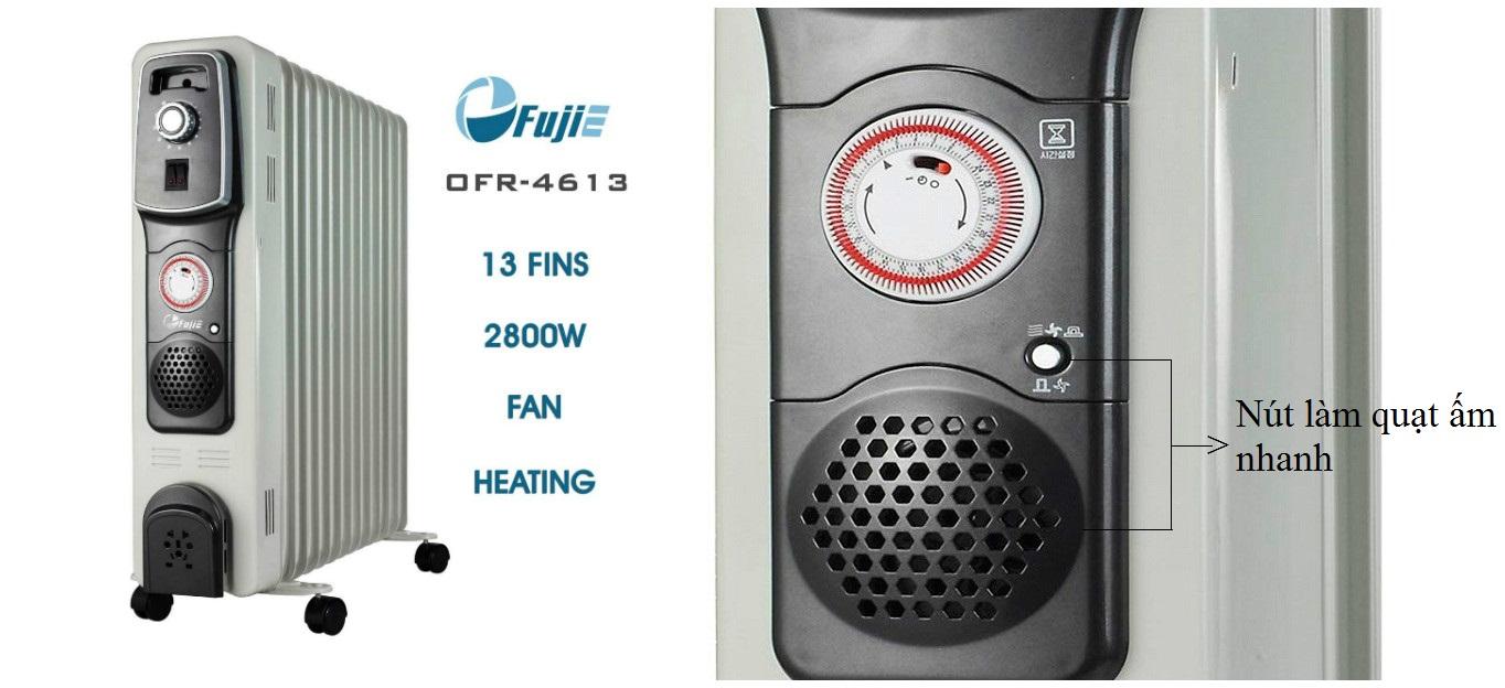 Máy sưởi dầu FujiE OFR4613 làm nóng nhanh